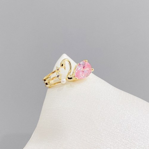 Temperament Micro Inlaid Zircon Swan Open Ring Adjustable Simple Personality Index Finger Ring