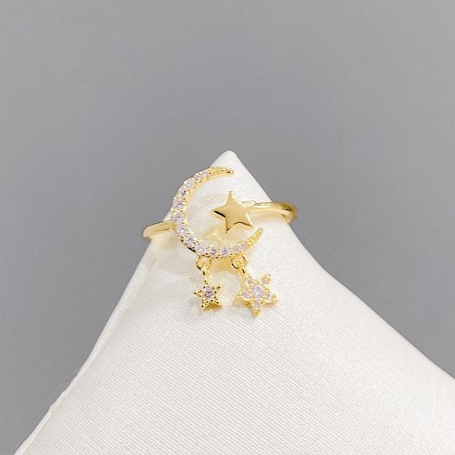 Micro Inlaid Zircon Five-Pointed Star Open Ring Fashion Graceful Personality Design Index Finger Ring