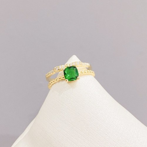 Lucky Emerald Ring Female Fashion Unique Crystal Ring Stylish Index Finger Open Ring