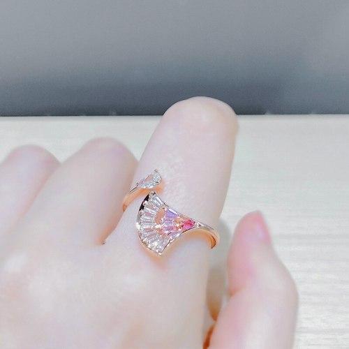 Small Skirt Ring Women's Trendy Diamond-Embedded Fan-Shaped Open Ring Light Luxury All-Match Geometric Ornament