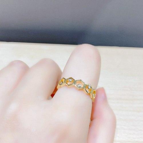 Fashion Small Fresh Geometric Micro-Inlaid Women's Ring Simple Temperament Open Ring Wholesale
