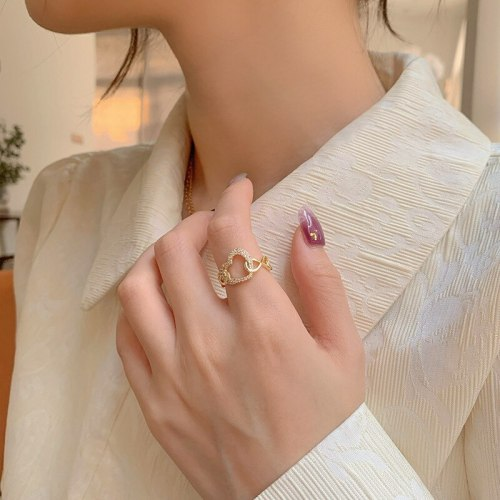 Open Design Peach Heart Ring Simple and Stylish Personality Delicate Micro-Inlaid Index Finger Ring