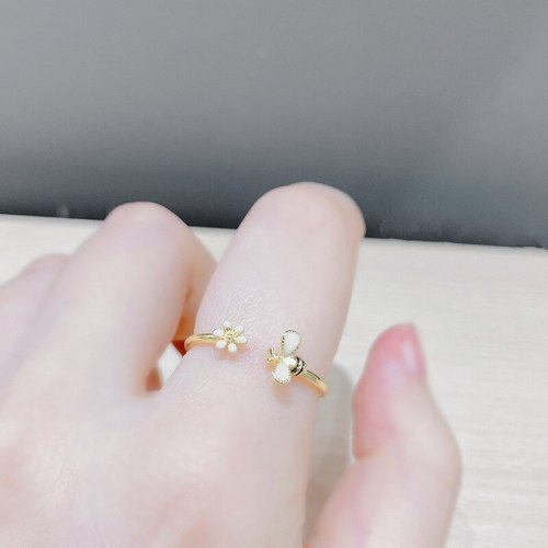 Cross-Border European and American Daisy Bee Open Ring Fashion Ring Index Finger Ring Ornament Wholesale