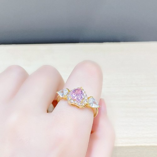 Peach Heart Affordable Luxury Fashion Ring Personalized Niche Design Open Index Finger Ring