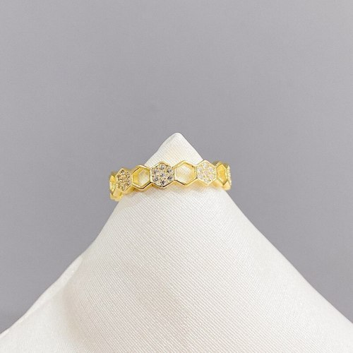 Hexagon Fashion Ring Exaggerated Personalized Index Finger Ring Simple Cold Style Open Ring
