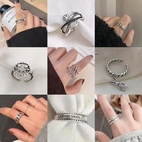 European and American Fashion Cool Silver Ring Female Smiling Face Layered Retro Punk Simple Index Finger Ring