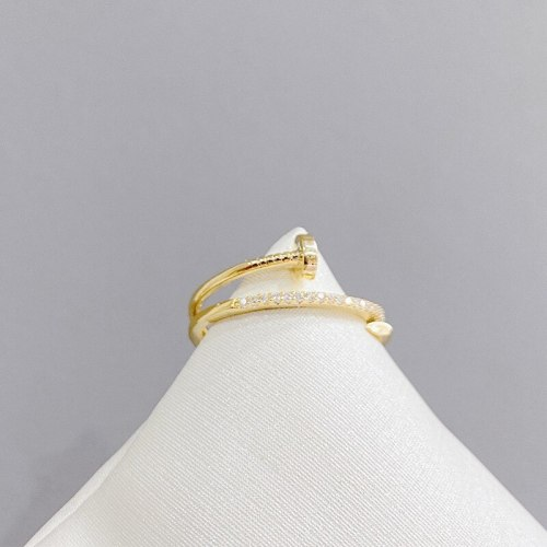 Personalized Cold Style Light Luxury Delicate Bead-Set Diamond Nail Ring Fashion All-Match Open Index Finger Ring