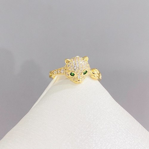 European and American Copper Plated Real Gold Ring Personalized Zircon Ring Animal Leopard Open Ring