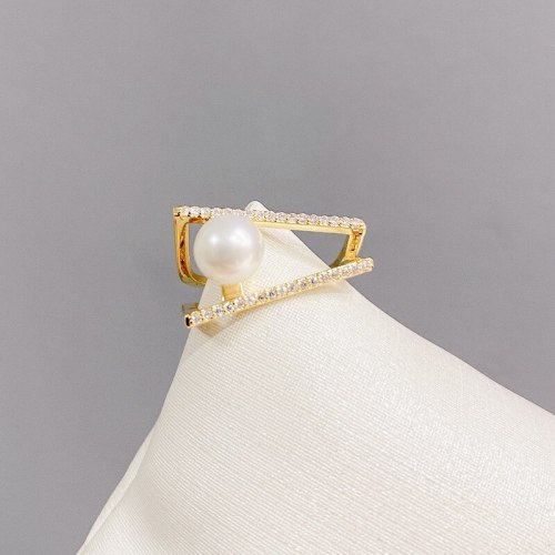 Micro Inlaid Zircon Multi-Layer Pearl Adjustable Ring Geometric Cross Niche Design Open Ring
