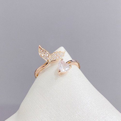 Trendy Fishtail Open Ring Female Fashion Personalized Index Finger Ring Ring Simple Circle Little Finger Ring