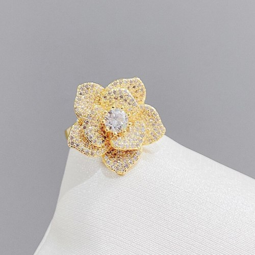 Fashion Micro Inlay Full Diamond Ring Female Special-Interest Design Index Finger Ring Adjustable Ornament