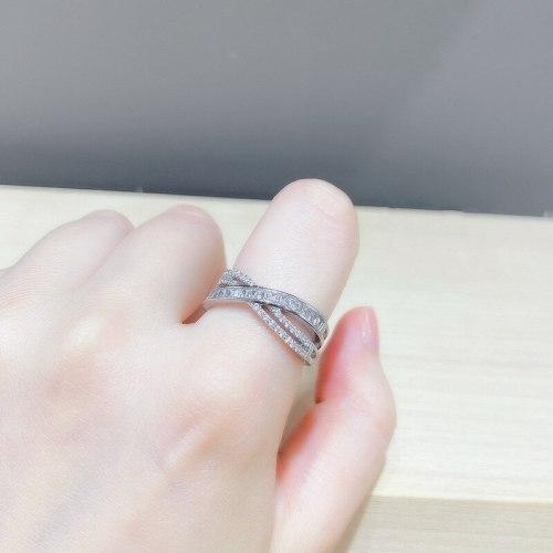 2021new Cross Full Diamond Index Finger Ring Simple Elegant Fashionable Open Adjustable Ring for Women