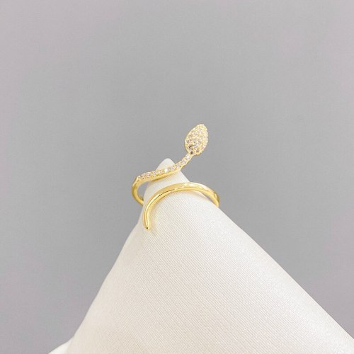 Micro-Inlaid Snake-Shaped Niche Open Design High-Grade Ring Female Personality Stylish Index Finger Decorative Ring