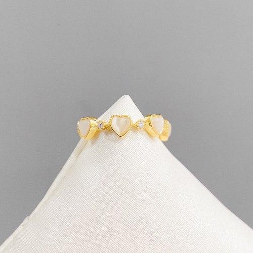 Super Fairy Peach Heart Opal Copper Ring Niche Design Open Ring Retro Aloofness Style Ring