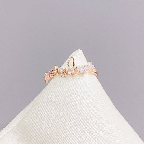 Light Luxury Design Bow Zircon Opening Copper Ring 14K Gold Plated Gentle Fashion Ring