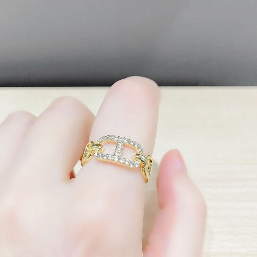 H Letter Index Finger Ring Fashion Personality Micro-Inlaid Ring Niche Design Open Ring Female