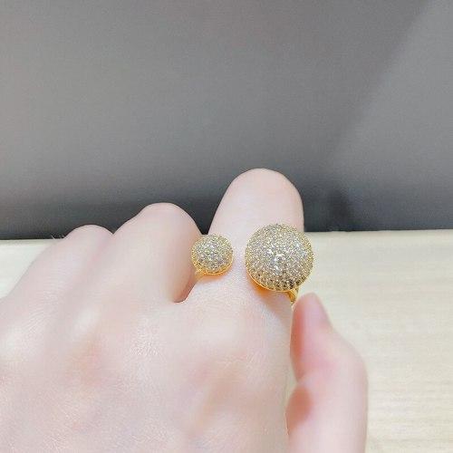 Elegant Socialite Open Ring Full Rhinestone Zircon Adjustable Fashion Ring Ring Ornament