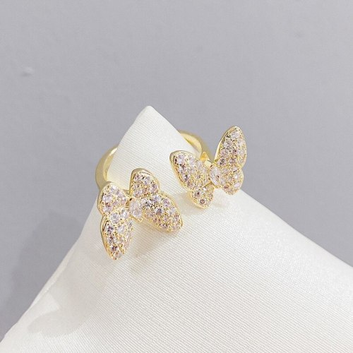 Fashion Butterfly Opening Ring Female Ins Special-Interest Design Diamond Temperament Open Index Finger Ring
