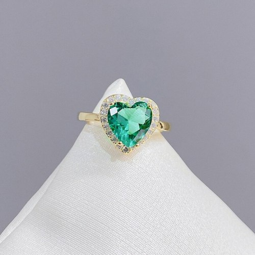 Exquisite Refined Grace Heart-Shaped Zircon Ring Peach Heart Forefinger Ring Ornament for Women