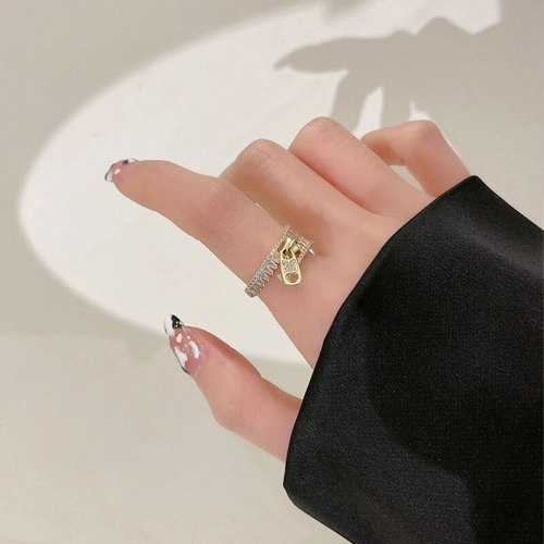 Niche Design Versatile Opening Adjustable Ring Fashion Graceful Personality Zipper Index Finger Ring