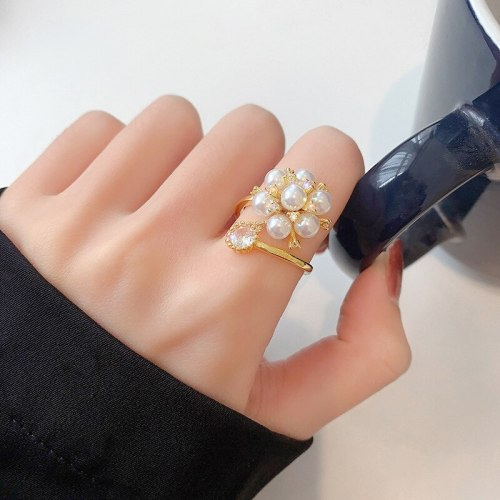 Japanese and Korean Style Indie Design Sweet Temperament Ornament Open-End Pearl Ring Simple Ring Online Influencer Ring