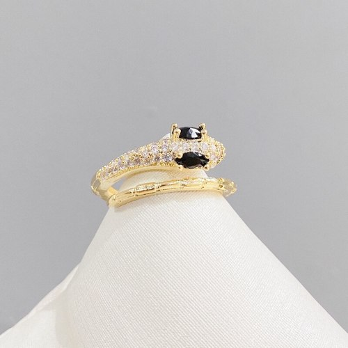 European and American Personality Affordable Luxury Snake-Shaped Diamond Ring Niche Design Open Index Finger Ring