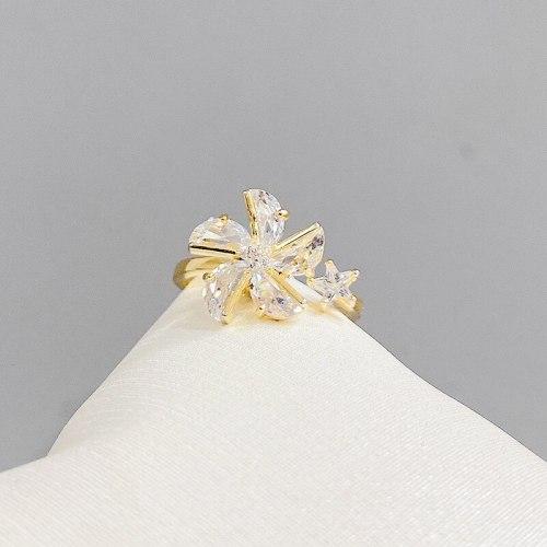 2021 New Fashion Small Fresh Windmill Open Ring Micro Inlaid Zircon Temperament Ring Women