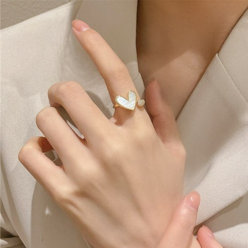 2021 New Fashion Shell Open Ring Peach Heart Ring Simple Cold Style Fashion Personality