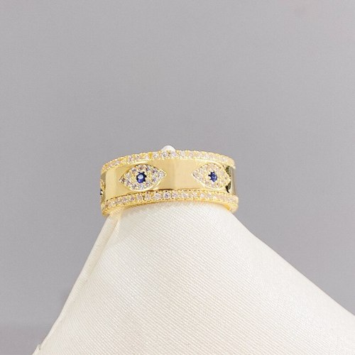 Devil's Eye Ring Fashion European and American Style Vintage Gold Plated Blue Eyes Zircon Ring