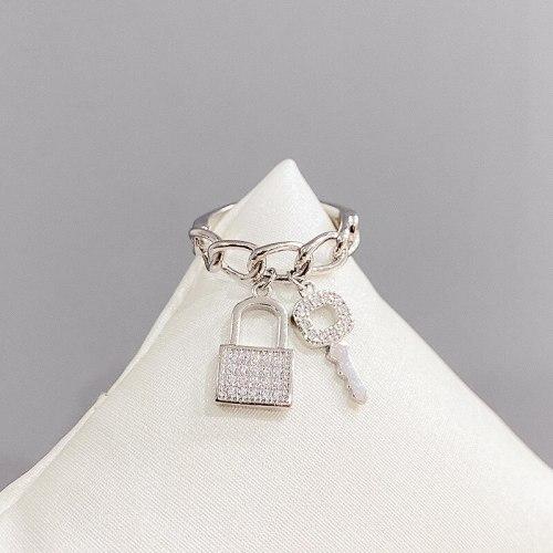 2021 Summer Hot Ins Fashion Special-Interest Design New Key Lock Elegant Metal Ring Rings