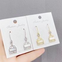 Sterling Silver Needle Bag Stud Earrings New Micro Inlaid Zircon Letter H Earrings for Women Graceful Ear Ornaments