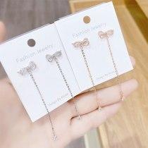 Sweet Fashion New Bow Sterling Silver Needle Stud Earrings Tassel Long Earrings Women