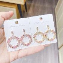 Sterling Silver Needle Flower Cluster round Shining Zircon Earrings All-Match Garland Earrings Anti-Allergy Earrings