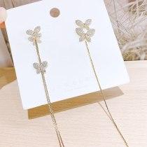 Sterling Silver Needle Butterfly Long Fringe Pendant Stud Earrings for Women All-Match Online Influencer Ear Jewelry