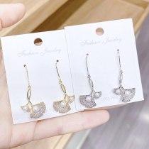Real Gold Plating S925 Silver Hook Ginkgo Leaf Petite Earrings Women's Exquisite Fine Zircon-Embedded Earrings Fashion Earrings
