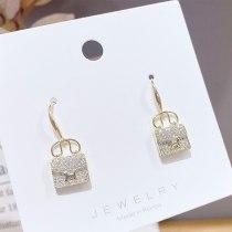 New Letter H Bag Earrings Micro Inlaid Zircon Ear Hook Temperament Earrings All-Match Ear Jewelry