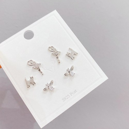 Sterling Silver Needle Micro Inlaid Zircon Three-Piece Earrings Personality One Card Three Pairs Combination Cat Earrings