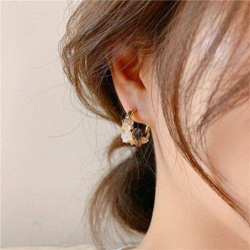 Korean Retro Sterling Silver Needle Shell Flower Stud Earrings Handmade Petal Gold-Plated Earrings