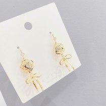 Sterling Silver Needle New Trendy Petal Fringed Earrings Stud Earrings Internet Celebrity Long Eardrop Bow Earrings