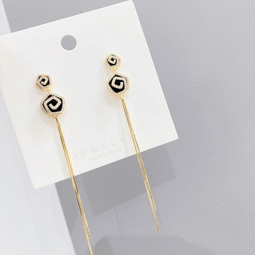 Sterling Silver Needle Korean Graceful and Fashionable Super Fairy Rose Tassel Earrings New Studs