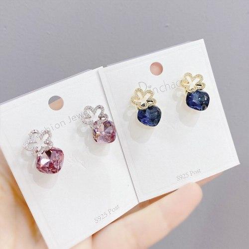 Sterling Silver Needle Zircon Stud Earrings Micro-Inlaid Full Diamond Petal Earrings Fashion Earrings Female Earrings