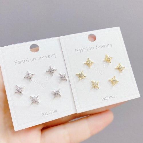 Korean Multi-Pair Set Ear Rings Sterling Silver Needle Eight Awn Star Earrings Three Pairs Zircon Earrings