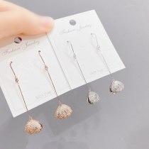 Fashion Sterling Silver Needle Earrings Super Shiny Micro Inlaid Zircon Shell Temperament Ear Clip Ear Stud Earring Women