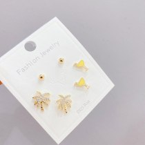Korean Multi-Pair Set Earrings Sterling Silver Needle Sweet Earrings Three Pairs Zircon Ear Studs Ornament