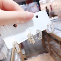 Sterling Silver Needle Simple All-Matching Graceful Rectangular Bar Inlaid Zircon Single Row Ear Studs Earrings
