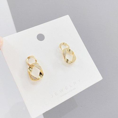 European and American Trendy Earrings Micro-Inlaid Multi-Layer Hoop Earrings Sterling Silver Needle Ear Studs Personality