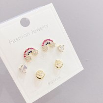 New Sterling Silver Needle Korean Style Three Pairs Female Stud Earrings Simple All-Match Rainbow Exquisite 14K Earrings