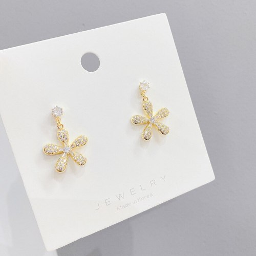 Korean Sterling Silver Needle Micro Inlaid Zircon Flower Earrings Super Fairy Petals All-Match Temperamental Stud Earrings