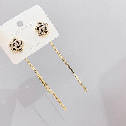 Earrings Sterling Silver Needle Black Rose Rear-Mounted Tassel Stud Earrings for Women Earrings Eardrops