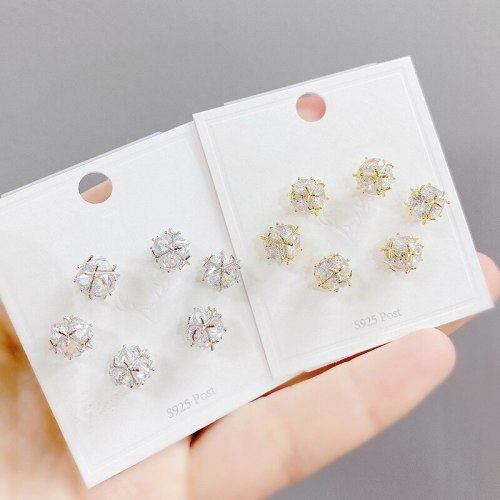 Sterling Silver Needle Micro Inlaid Zircon Spherical Three-Piece Earrings Small Personality Earrings